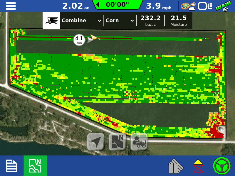 Track combine's progress with a live map of harvested portion of the field from the display in the grain cart and on iPad from anywhere.